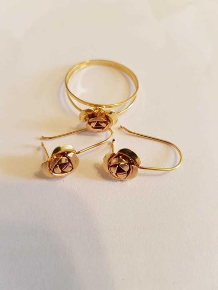 Brinco Gancho E Anel Flor Em Ouro 18k750 Rose E Amarelo