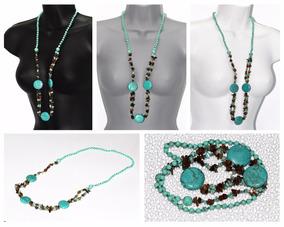ad15faa4eddb Collar De Piedras Preciosas Turquesa - Joyas y Relojes en Mercado ...