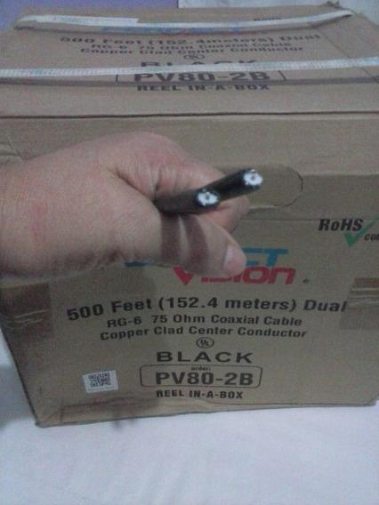 Cable Coaxial Dual Rg-6 Color Negro