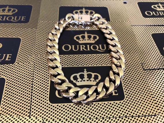 Pulseira Masculina Ouro 18k 750 Grumet 1x1 Tradicional 30 G