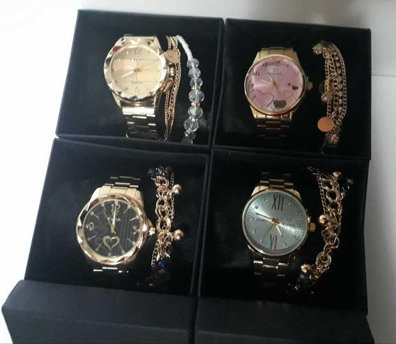 Kit Com 10 Relógios Feminino Eura+caixas+pulseiras Atacado
