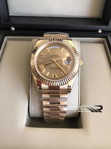 Rolex Dourado Day Date 40mm Automático Safira