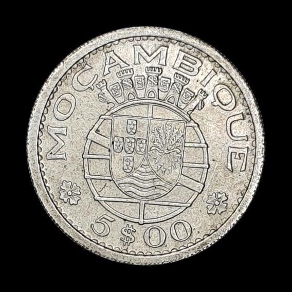 Ch C / Mozambique 5 Escudos 1960 Km#84 Plata