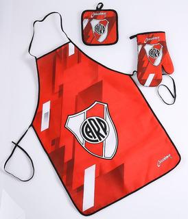 Set Cocina Agarradera, Manopla Y Delantal River Plate