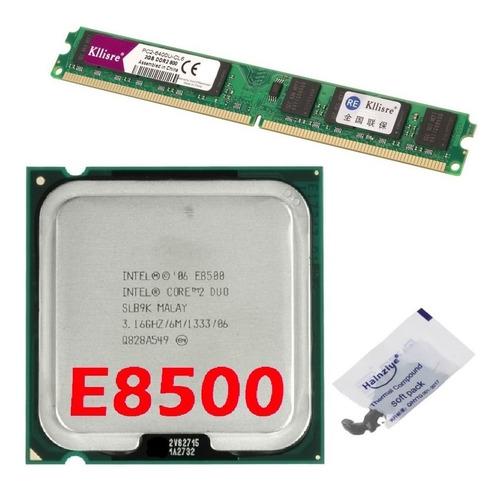 Imagem 1 de 7 de Kit Cpu Core 2 Duo E8500 3,16 Ghz + Memória Ddr2 800mhz 2gb