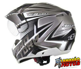 Capacete Cross Th1 Vision Advance Prata Com Branco