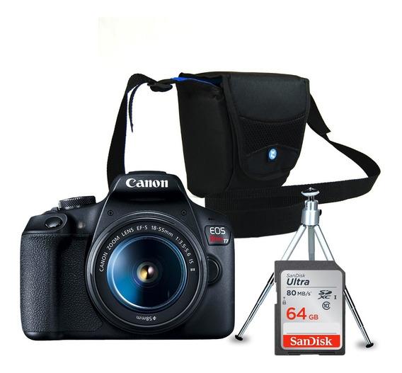 Câmera Canon Eos Rebel T7 + Bolsa +mini Tripé + Cartão 64gb