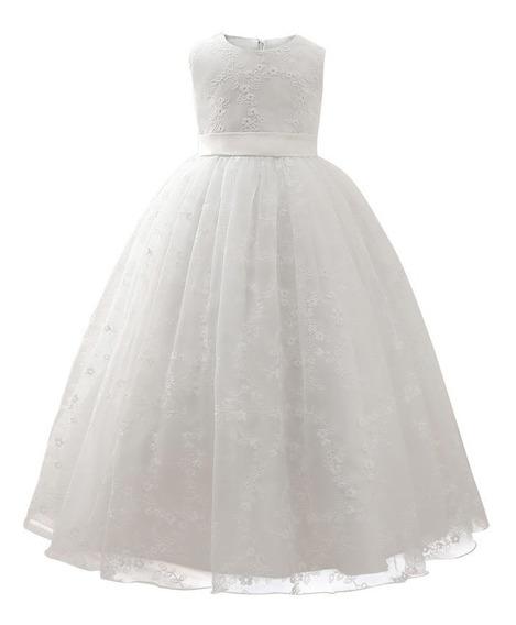 Vestido Longo Infantil Dama Honra Formatura Renda Branco