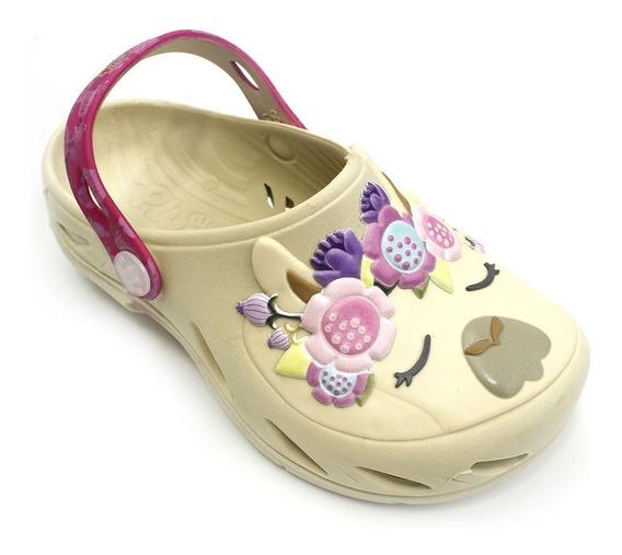 Babuche Plugt Ventor Lhama Floral Infantil - Creme/pink