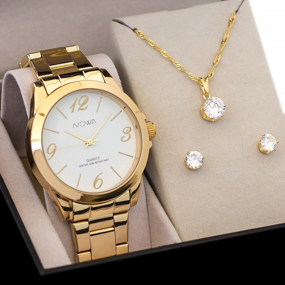 Kit Relógio Nowa Dourado Feminino Original Nw1025k+jóias