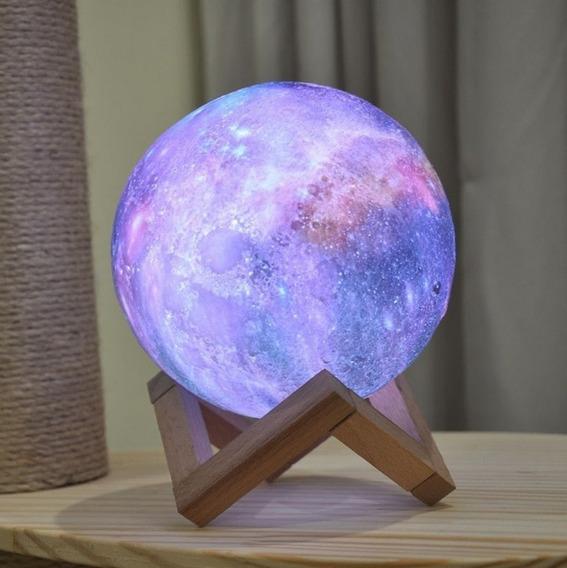 Luminária Lua Cheia 3d Abajur Usb/touch 15cm 5 Cores Suport
