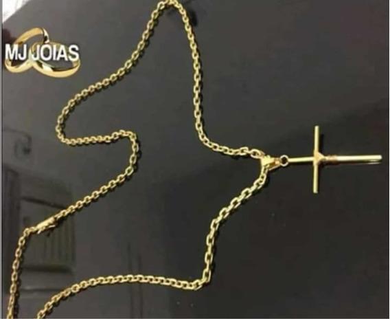 Cordão Banhado A Ouro 18k Tamanho 70cm 4mm Cruz Palito