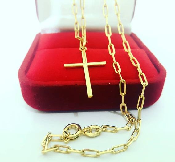 Cordão Corrente Banhada A Ouro 18k 60cm Ping Cruz Palito 2mm