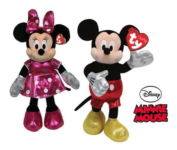 Pelúcia Minnie Mouse E Mickey Mouse Ty Dtc Cintilantes Fofos