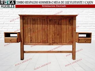 Respaldo Sommier + 2 Mesas De Luz Flotante 1 Cajon Encerado