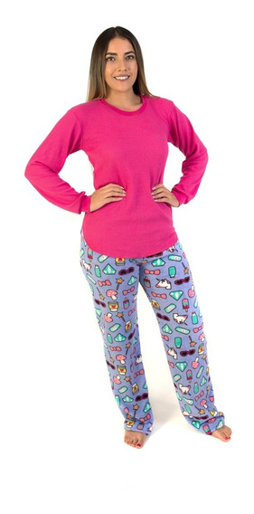 Pijama Dama Pantalón Polar Y Blusa Termica Rosa