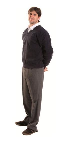 Pullover Juvenil Escote En V Colegial Azul Talle 18 Al 24