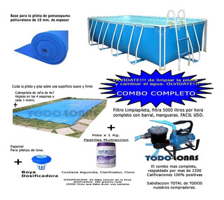 Pileta De Lona Grande Nahuel Combo 600x300x110 Gar.