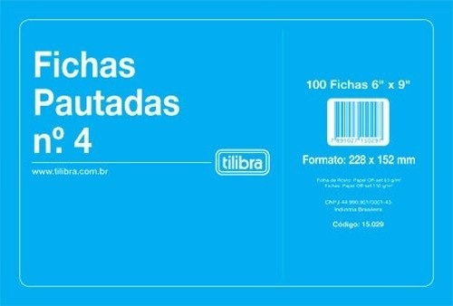 Ficha Pautada Nº4 6x9 C/100 Fichas Tilibra