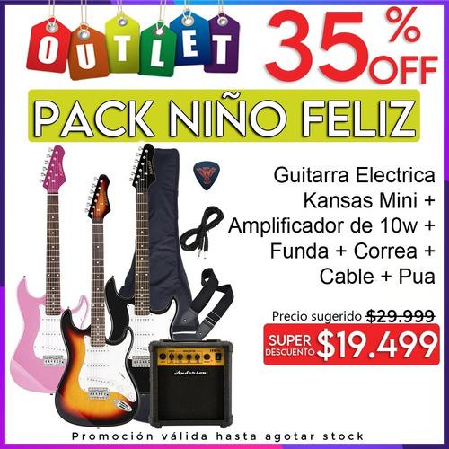 Imagen 1 de 2 de Combo Guitarra Electrica Niños + Amplificador Y Accesorios