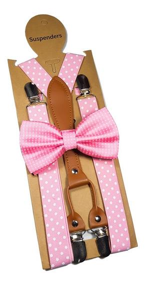 Moño Y Tirantes Con Cuero Color Rosa Con Puntos Para Adulto