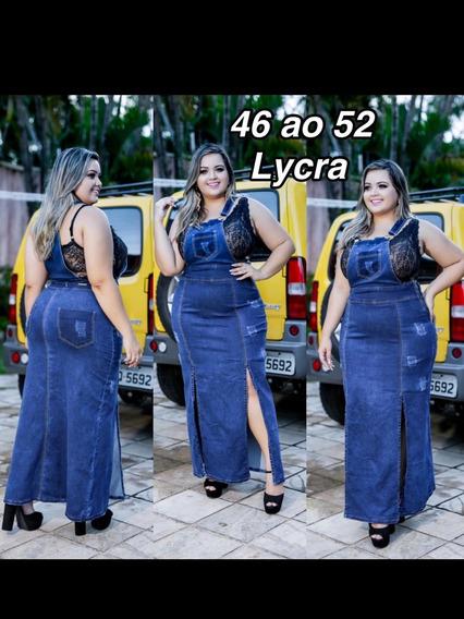 Vestido Longo Plus Size Jeans Com Laycra @onplusmodasoficial
