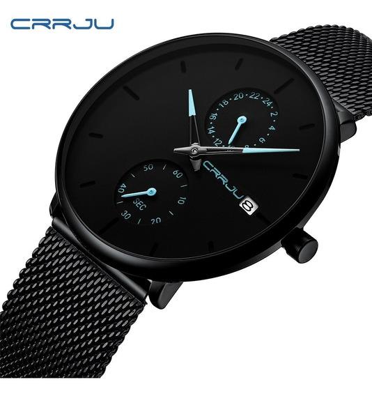 Relógio Masculino Crrju 2265 - Pronta Entrega - Ultra Fino - Quartz - Ponteiro 24 Horas