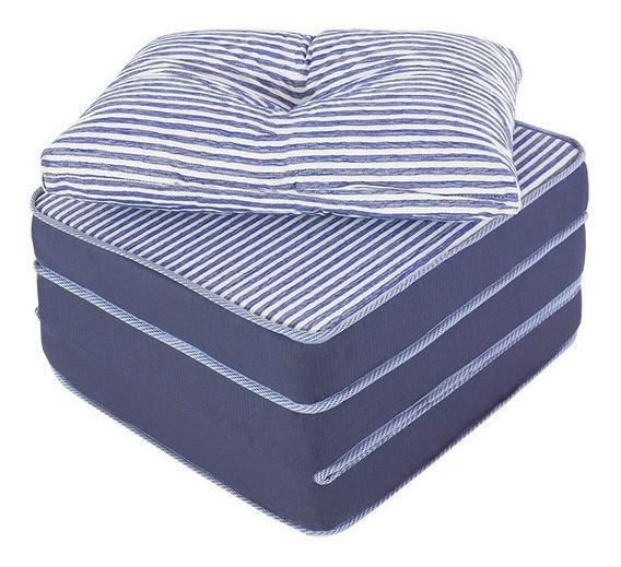 Puff Multiuso 3 Em 1 Solteiro Jacquard Azul + Travesseiro