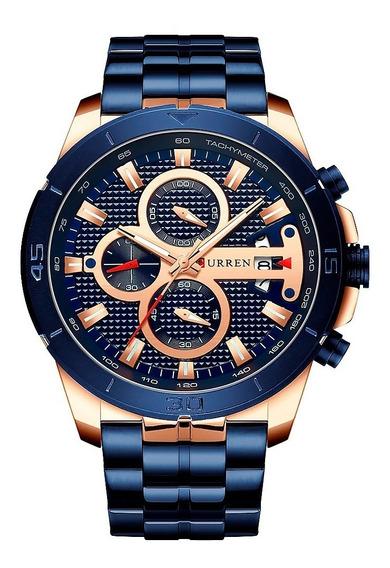 Reloj Deportivo Curren Caballero Análogo Fechador Reci Azul