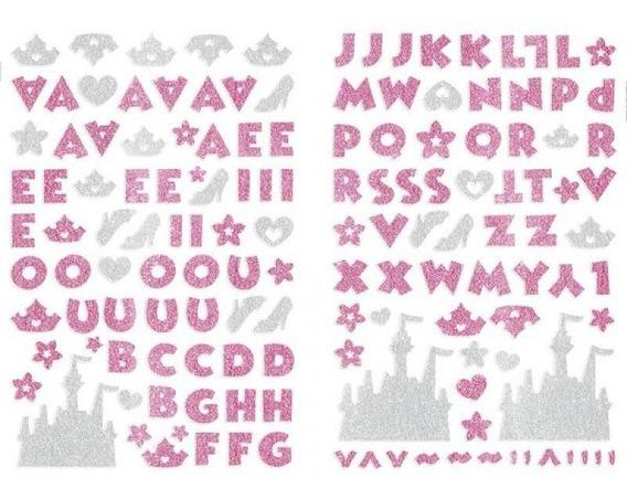 Adesivo Alfabeto C/ Glitter Princesa Disney Rosa 20806 Toke