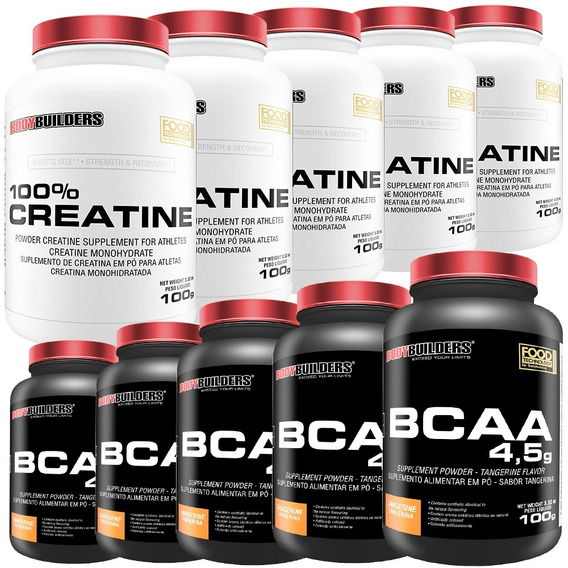 Kit 5x Bcaa 100g + 5x Creatina 100g - Bodybuilders