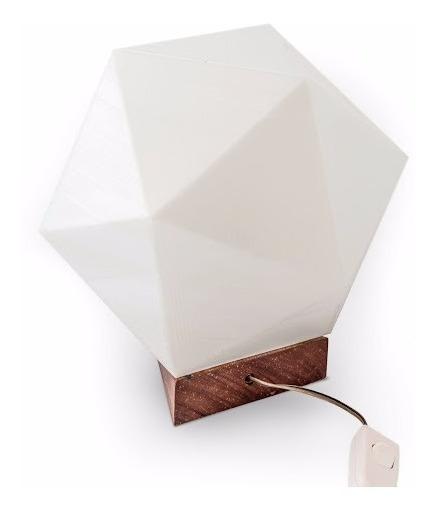Luminária Icosaedro De Mesa Com Cúpula 3d Led Para Decoração