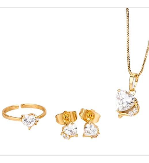 Conjunto Infantil Colar Brinco Folheado Ouro Coração Cristal C239