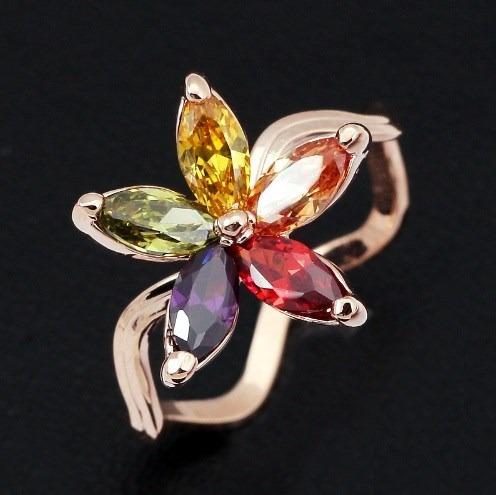 Anillo Flor Multicolor Talla 7.5 Swarovski Crystals En Stock