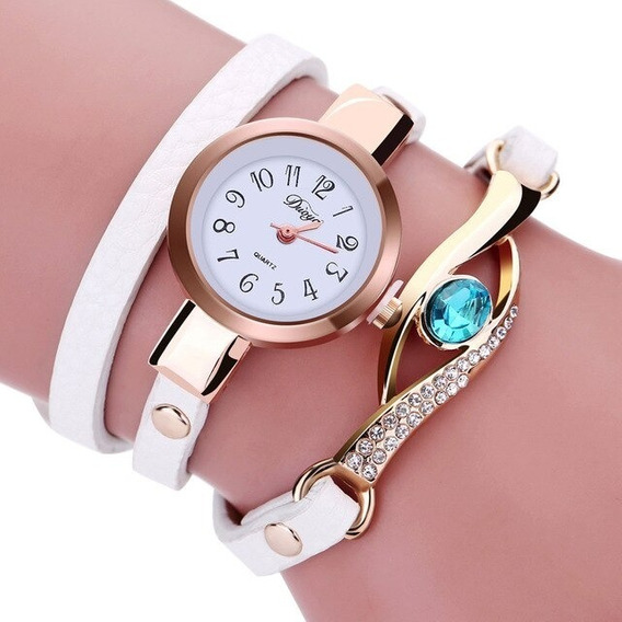 Kit 4 Relógios Feminino Pulseira Em Couro