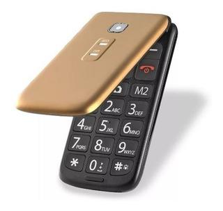 Celular P Idoso Flip Vita Multilaser Azul/dourado/vermelho