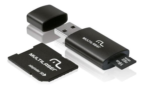 Cartão Memória Micro Sd 16gb 2 Adaptadores Mc112 Multilaser