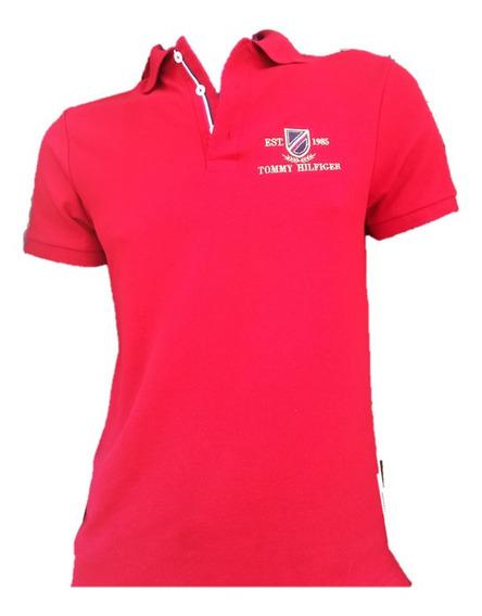 Playera De Caballero Tipo Polo Color Rojo Tomy
