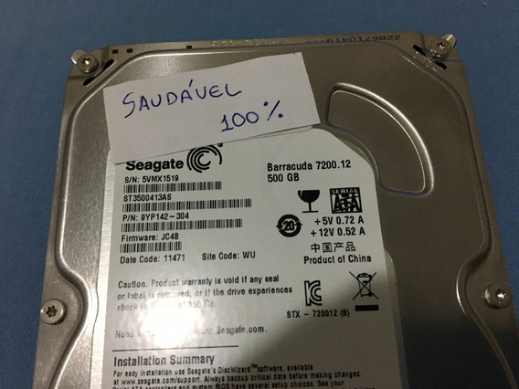 Hd 500 Sata Seagate Barracuda 7200 Rpm + Crystal Disk Info