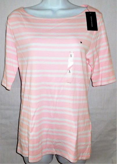 Tommy Hilfiger Camiseta Feminina Listrada Nova Original Imp