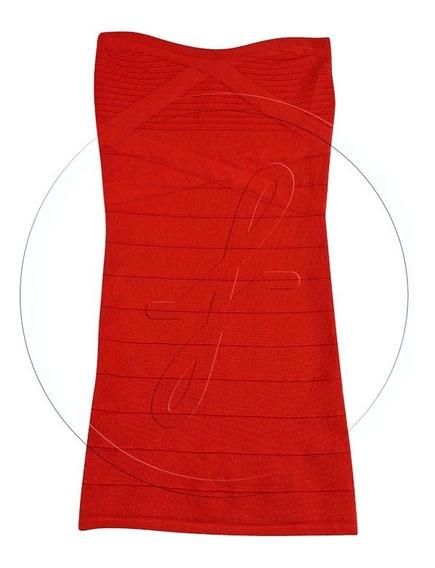 Vestido Tejido Strapless Rojo Chico
