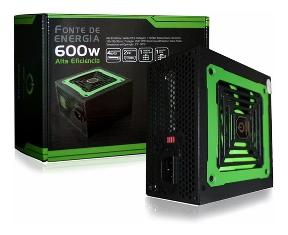 Fonte Gamer 600w Real Atx 20+4 600 W Reais Pci-ex