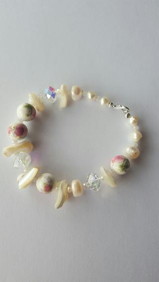 Pulsera De Cristales.ceramica.perlas Y Nacar.
