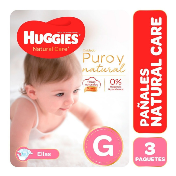 Pañales Huggies Natural Care Puro Y Natural Ellas Pack X 3