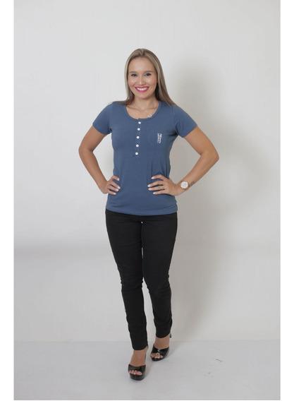T-shirt Henley Feminina Azul Petróleo
