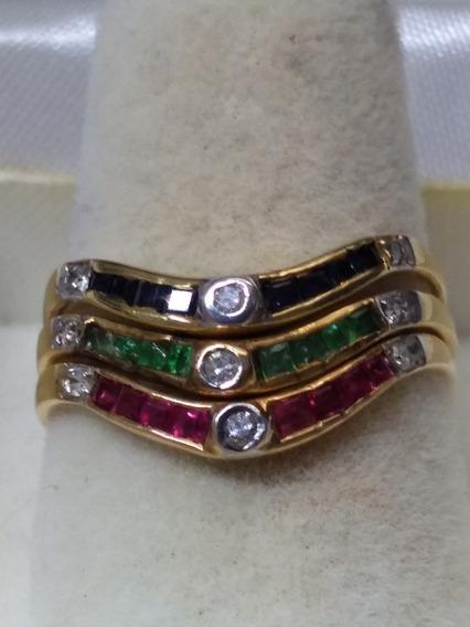 Anillo Triple Diamantes Zafiro Rubí Y Esmeralda Oro 14 Kt