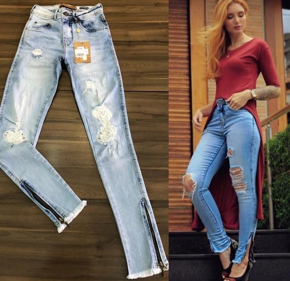 Calça Skinny Feminina Destroyed Jeans Tendencia