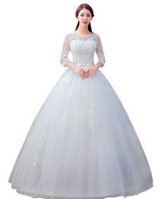 Vestido De Noiva Renda Bordado Princesa Com Saiote 9011