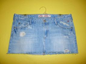 Minifalda Hollister Mezclilla Azul Claro Talla Mediana 9 /32