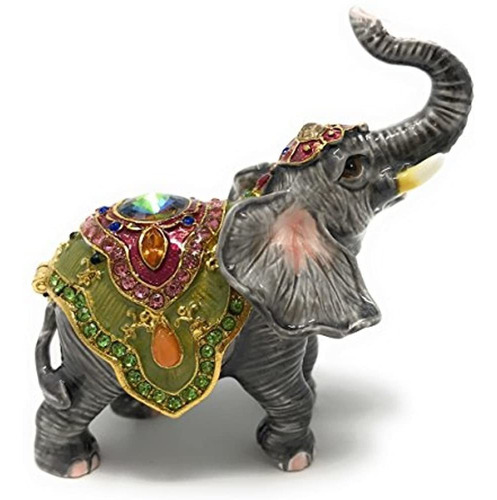 Esmaltado Circo Buena Suerte Elefante Caja Baratija De Kubla